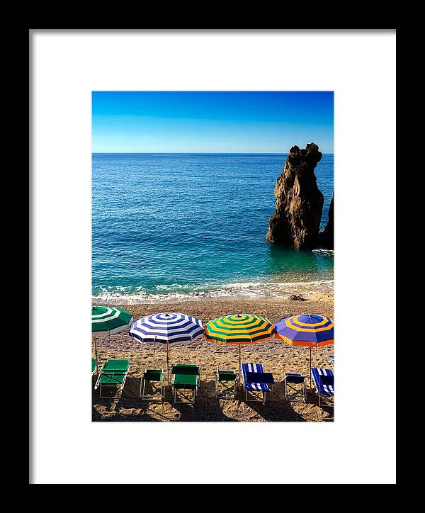 Cinque Terre Framed Print featuring the photograph Italian Beach Scene by John Wong