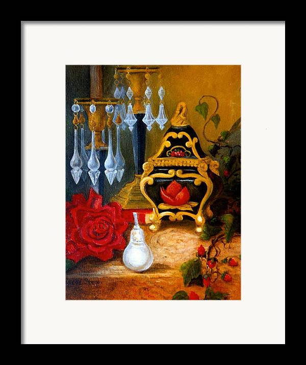 Candlesticks Framed Print featuring the digital art Italian Cache And Crystal by Jeanene Stein