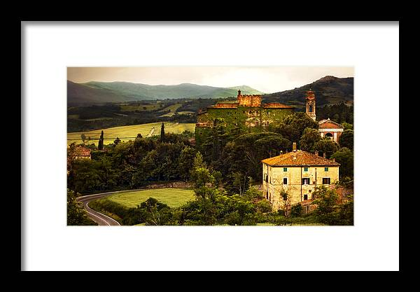 Italy Framed Print featuring the photograph Italian Castle And Landscape by Marilyn Hunt