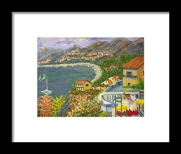 Landscape Framed Print featuring the painting Italian View by Charles Vaughn