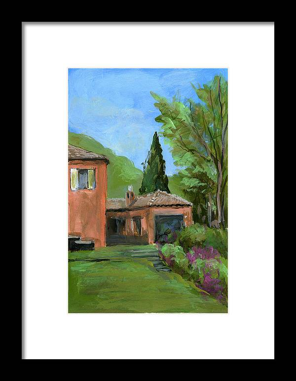 Landscape Framed Print featuring the painting Italy001 Somewhere In Sicily by Silvana Siudut