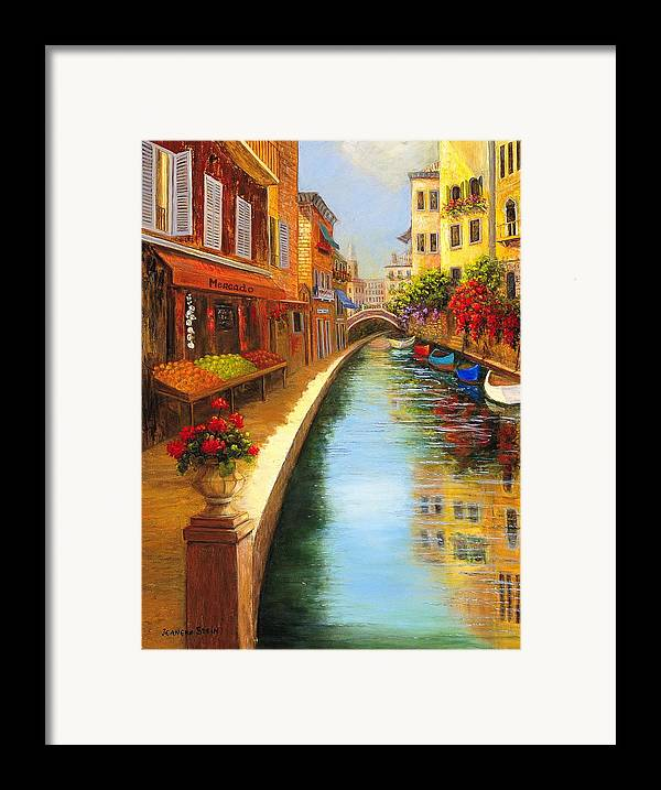 Canal. Italy Framed Print featuring the painting Italys Canal Street by Jeanene Stein