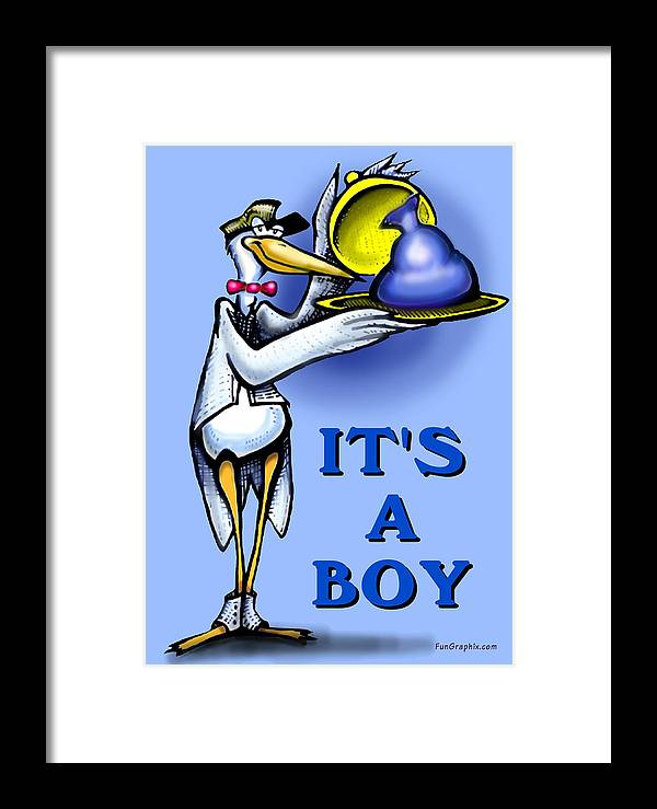 Baby Framed Print featuring the greeting card It's A Boy by Kevin Middleton