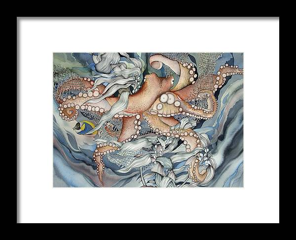 Sealife Framed Print featuring the painting Its A Wonderful Wonderful World by Liduine Bekman