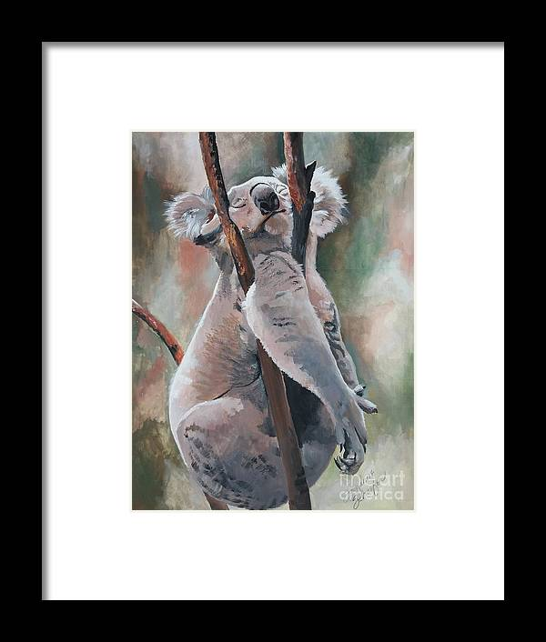 Koala Bear Framed Print featuring the painting Its About Trust - Koala Bear by Suzanne Schaefer