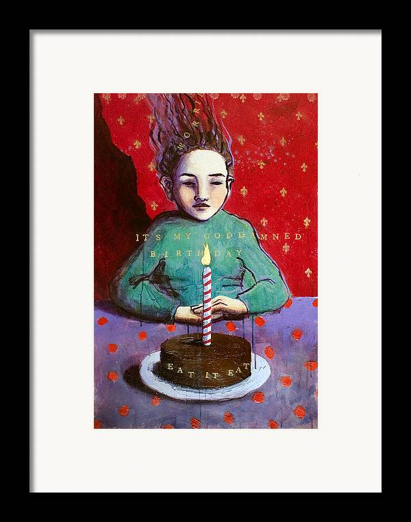 Birthday Framed Print featuring the painting Its My Gd Birthday by Pauline Lim