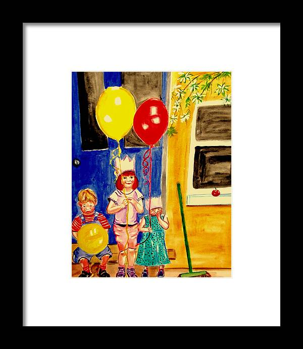 Childhood Framed Print featuring the painting Its My Party by Rusty Gladdish