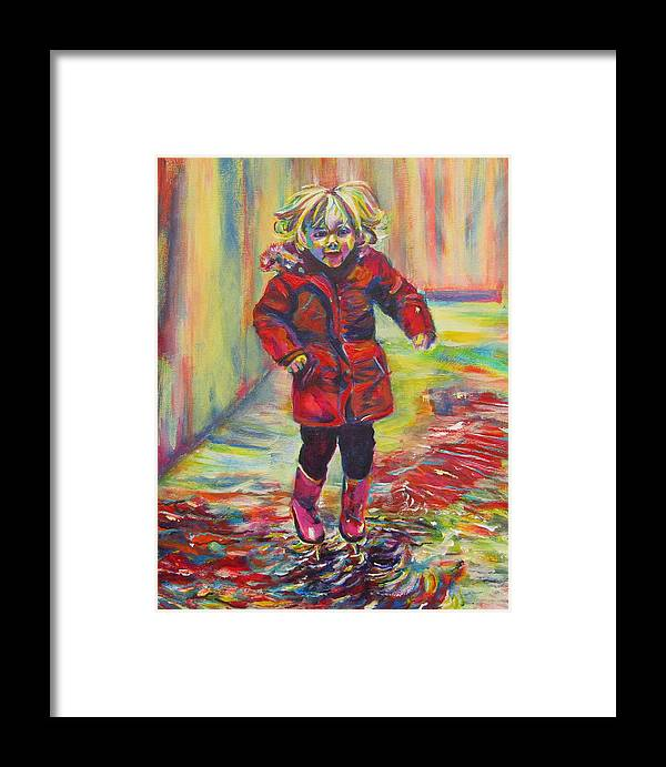 Child Framed Print featuring the painting It's Raining, It's Pouring by Karin McCombe Jones