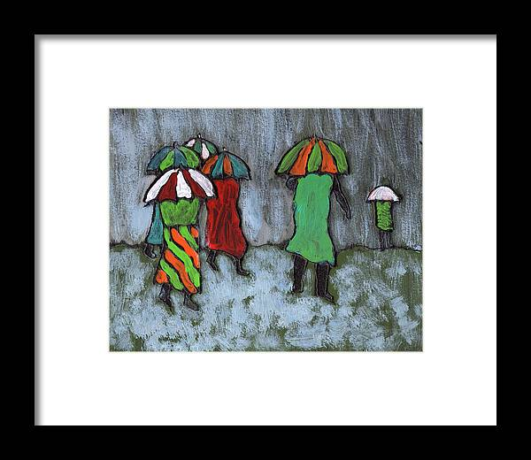 Etnic Framed Print featuring the painting It's Raining It's Pouring by Wayne Potrafka