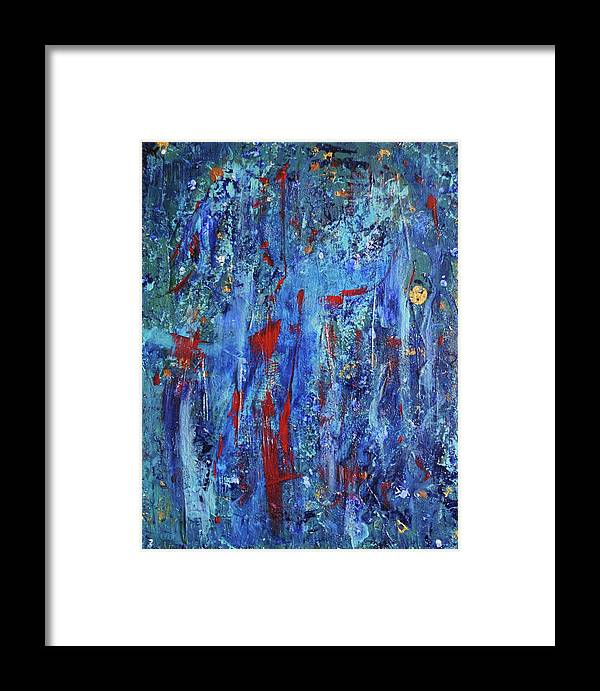 Red Framed Print featuring the painting IV by Margaret Fronimos