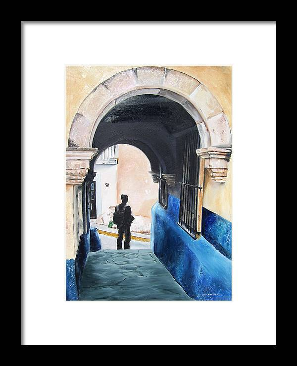 Archway Framed Print featuring the painting Ivan In The Street by Laura Pierre-Louis
