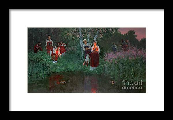 Girs Framed Print featuring the painting Ivan Kupala. Fortunetelling For Wreaths. by Simon Kozhin