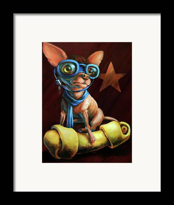 Chihuahua Framed Print featuring the painting I've Got Mine by Vanessa Bates