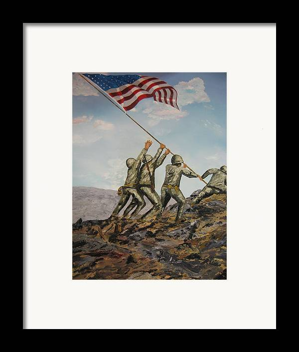 Military Art Framed Print featuring the painting Iwo Jima by Brian Hustead