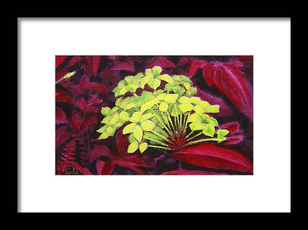 Foliage Framed Print featuring the painting Ixora - Jungle Flame by Usha Shantharam