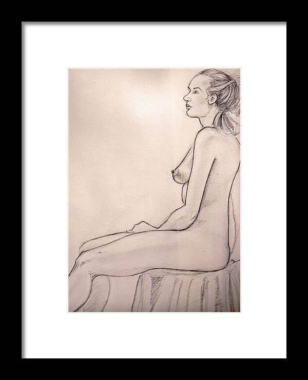 Female Nude Drawing Figure Study Framed Print featuring the drawing J In Session by Hilary England