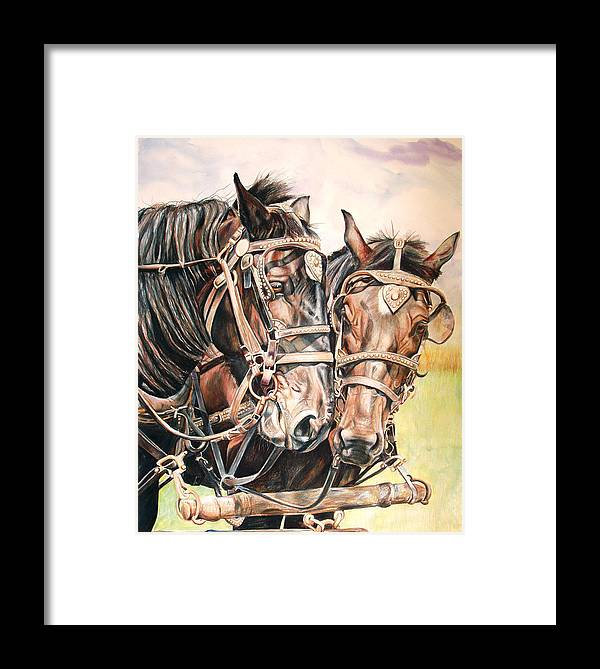 Black Framed Print featuring the painting Jack And Joe Hard Workin Horses by Toni Grote