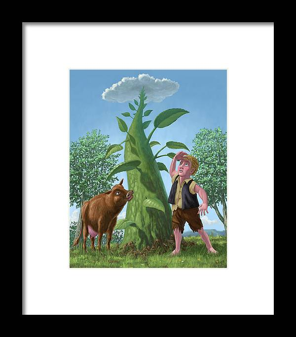 Jack Framed Print featuring the painting Jack And The Beanstalk by Martin Davey