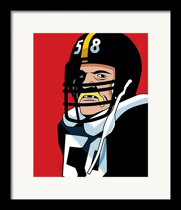 Graphic Framed Print featuring the digital art Jack Lambert by Ron Magnes