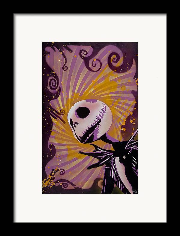 Pop Framed Print featuring the painting Jack Skellington by Tai Taeoalii