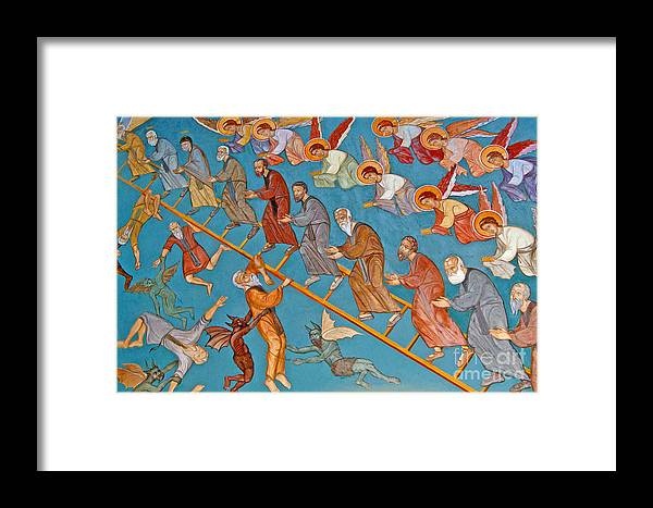 Jacob Framed Print featuring the painting Jacobs Ladder by Cypriot School