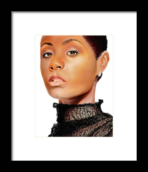 Framed Print featuring the digital art Jada Pinkett - Smith - 01 by Anthony Anthony ICONS