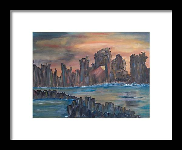 Abstract/landscape Framed Print featuring the painting Jagged Beauty by Mikki Alhart