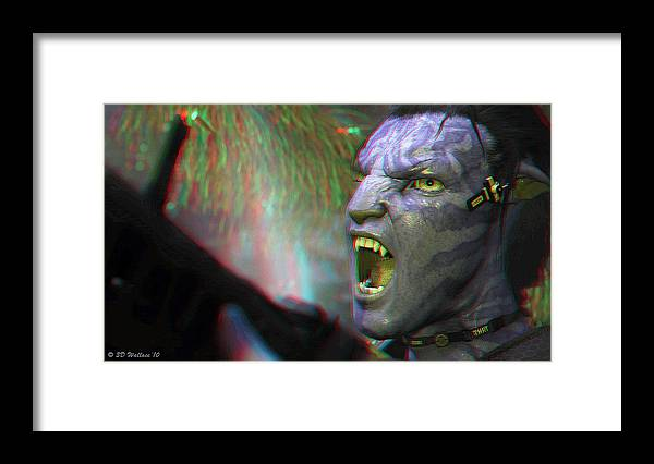 3d Framed Print featuring the photograph Jake Sully - Sam Worthington - Red-cyan 3d Glasses Required by Brian Wallace
