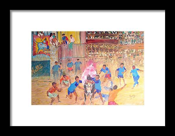 Jallikattu Framed Print featuring the painting Jallikattu- The Bull Fight by Narayan Iyer