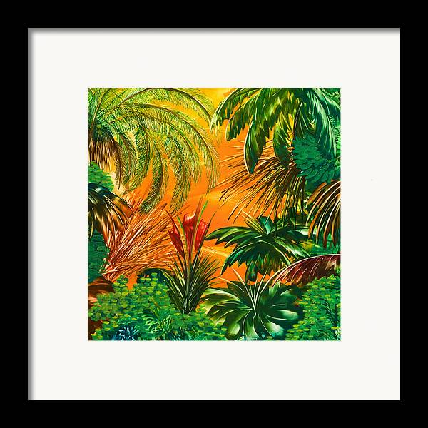 Jungle Framed Print featuring the painting jamaica III by Danita Cole