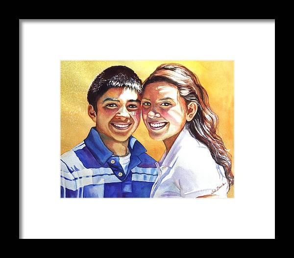 Portrait Framed Print featuring the painting James And Bella by Gail Zavala