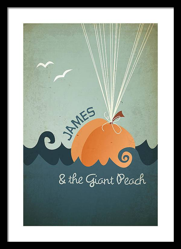 James Framed Print featuring the digital art James and the Giant Peach by Megan Romo