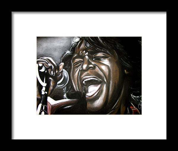 James Framed Print featuring the drawing James Brown by Zach Zwagil