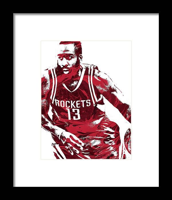 James Harden Framed Print featuring the mixed media James Harden Houston Rockets Pixel Art 3 by Joe Hamilton