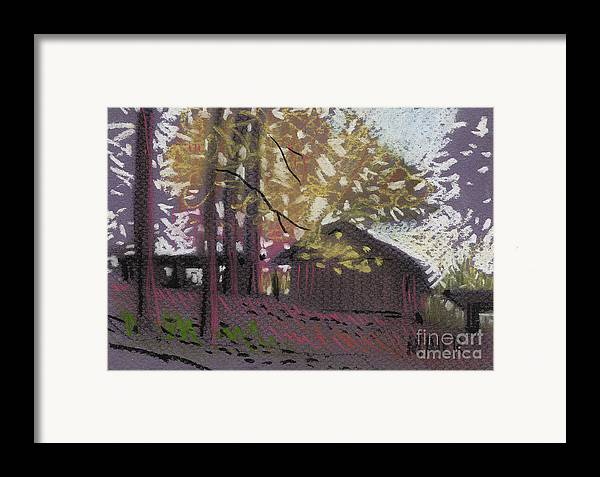 Pastel Framed Print featuring the drawing James's Barns 9 by Donald Maier