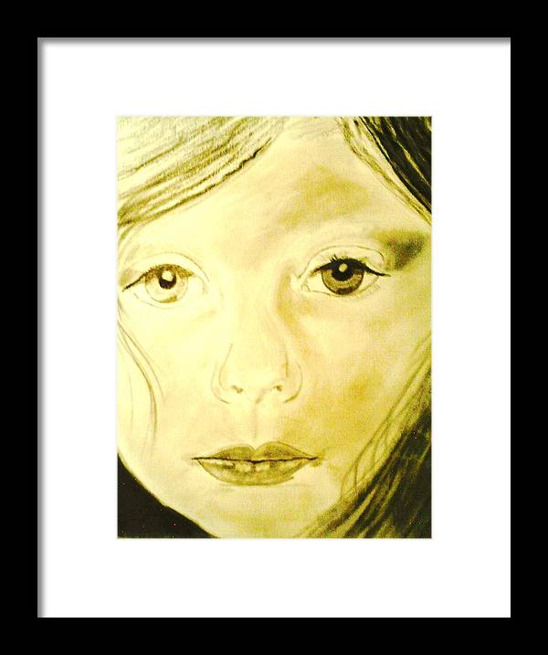 Children Framed Print featuring the drawing Jana by J Bauer