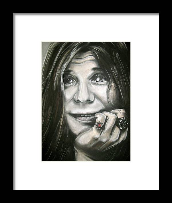 Janis Framed Print featuring the drawing Janis Joplin by Zach Zwagil