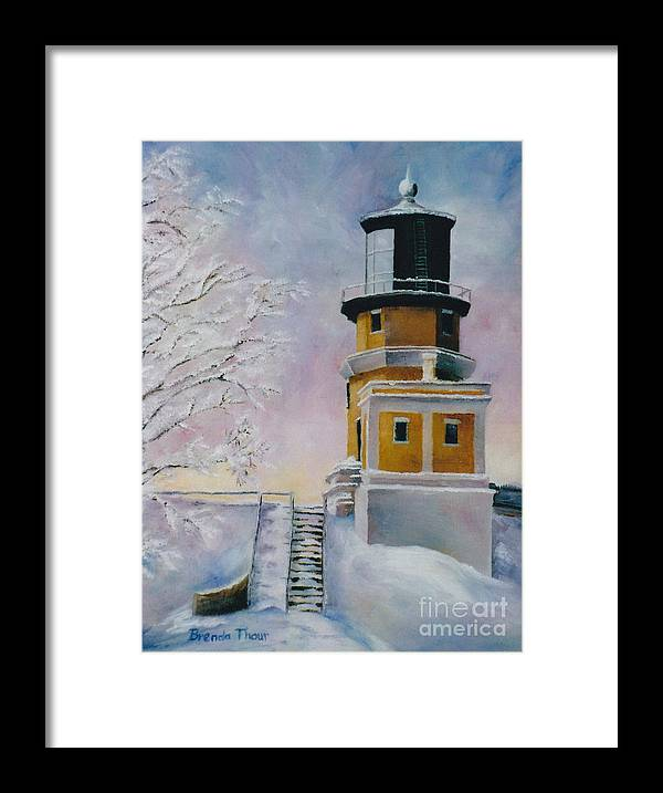Lighthouse Framed Print featuring the painting Januarys Light by Brenda Thour