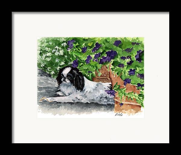 Japanese Chin Framed Print featuring the painting Japanese Chin Puppy And Petunias by Kathleen Sepulveda