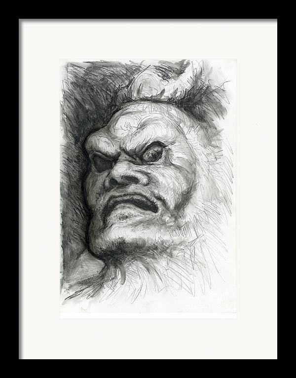 Fantasy Framed Print featuring the drawing Japanese Demon by Tim Thorpe