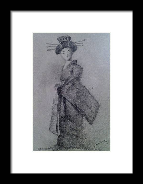 Pencil Framed Print featuring the drawing Japanese Doll With Drapery by Harish Krishnamurthy
