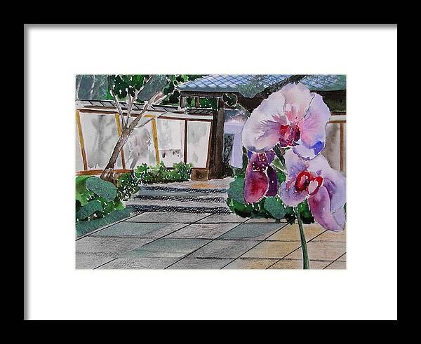 Garden Framed Print featuring the painting Japanese Garden by Evguenia Men