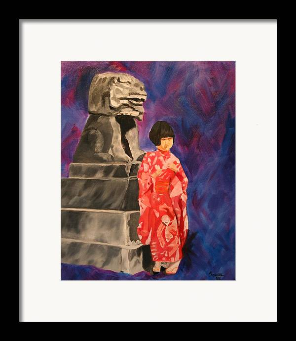 Figurative Framed Print featuring the painting Japanese Girl With Chinese Lion by Marilyn Tower
