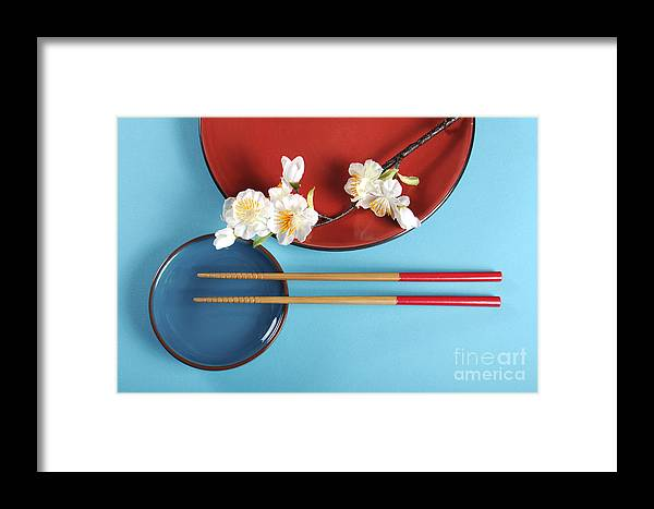 Table Setting Framed Print featuring the photograph Japanese Oriental Place Setting by Milleflore Images