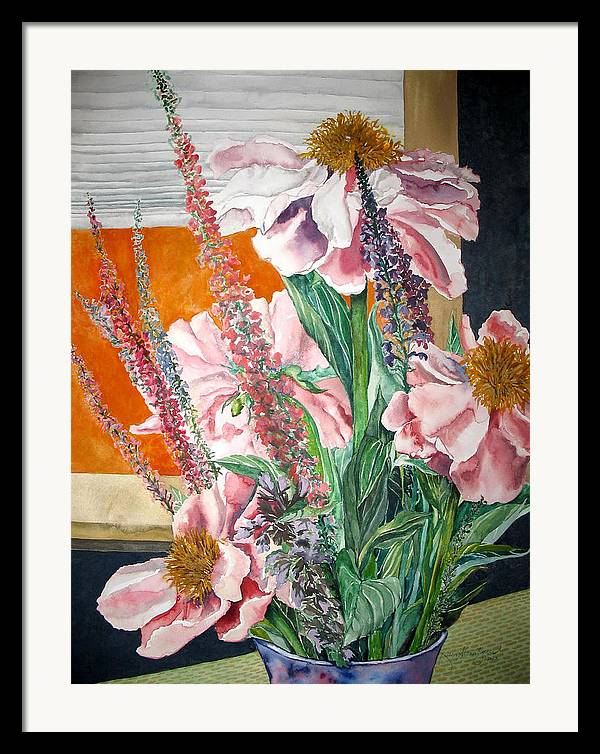 Painting Framed Print featuring the painting Japanese Peonies Bouquet by Caron Sloan Zuger