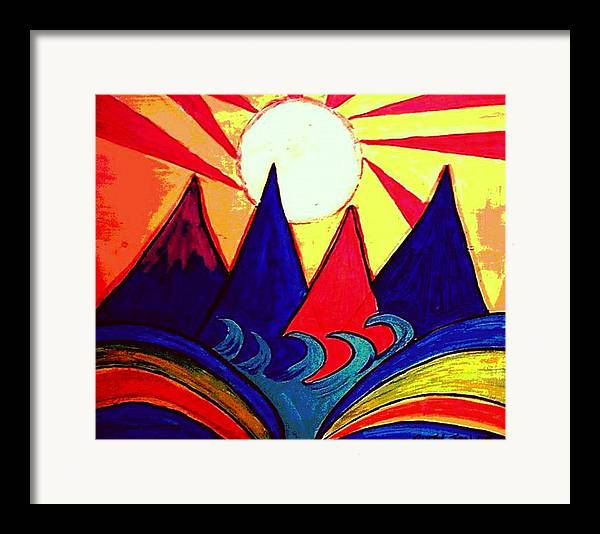 Japan Framed Print featuring the painting Japanese Sunrise by Rusty Gladdish