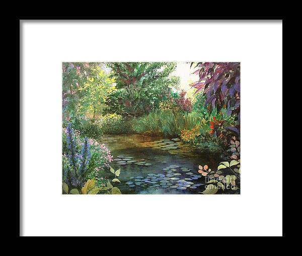 Canvas Print Landscape Framed Print featuring the painting Jardin Giverny by Madeleine Holzberg