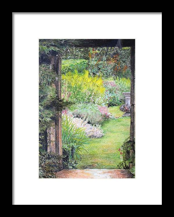 Landscape Framed Print featuring the drawing Jardin by Muriel Dolemieux