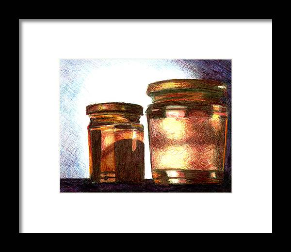 Still Life Framed Print featuring the drawing Jars by Raven Creature