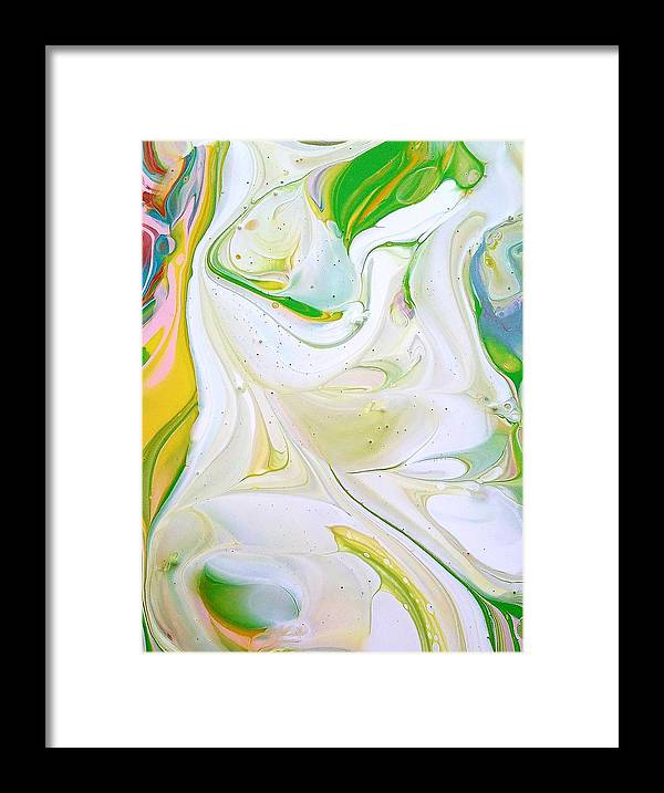 Abstract Framed Print featuring the painting Jasmine Flower by Rosa Lopez